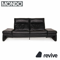 Mondo Leather Sofa Black Three-seater Electric Function Relaxfunktion Couch