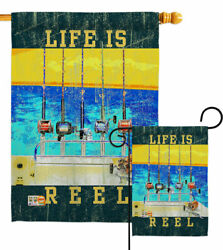 Life Is Reel Garden Flag Fishing Sports Decorative Small Gift Yard House Banner