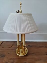 Baldwin Brass 3 Candlestick Bouillotte Lamp With Pleated Cloth Shade