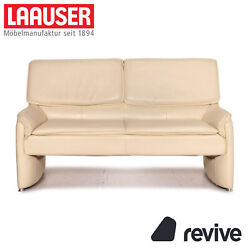 Laauser Leather Sofa Cream Two Seater Function Couch