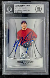 2010 Bowman Platinum Mike Trout Auto Beckett Bgs Authenticated 2011 Pp5 Update