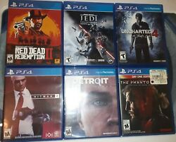 Lot Of 6 Ps4 Games, Red Dead Redemption 2, Jedi Fallen Order, Mgs V, Hitman 2, And
