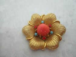 Boucher Vintage Signed Brooch With Faux Coral And Turquoise Stones