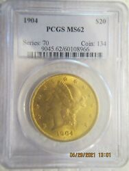 1904 United States Mint Gold Coin 20 Twenty Dollars Double Eagle Liberty Head