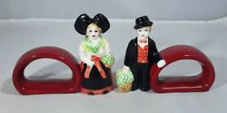 Pair Of Antique Vintage French Alsace Costume Porcelain Lady And Man Napkin Rings
