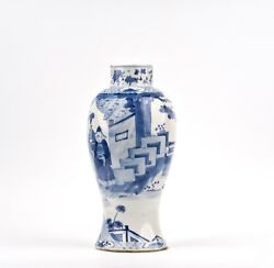 A Chinese Blue And White Porcelain Form Vase