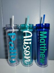 Personalized 16oz Acrylic Tumbler Name Logo Decal Customized Gift Team Party