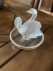 Vintage Ring/change Dish Signed ...french Made Lalique Swan
