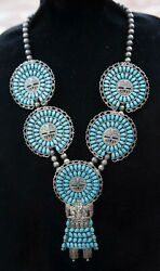 Massive Larry Moses Begay Sterling Silver Turquoise Sun Kachina Necklace