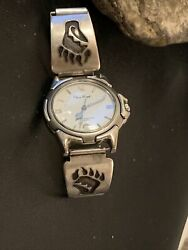 Vintage Mens Hopi Sterling Silver Watch Tips Band Old Pawn Bear Paw 1446