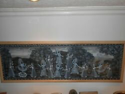 Large Framed Hand Painted Indian Lace Including Silver Paint Of A Moon Dance.andnbsp
