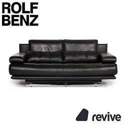 Rolf Benz 6500 Leather Sofa Black Two Seater Function