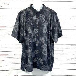 New 5xlb Men's Tommy Bahama Fuego Floral Black Gray Big And Tall Silk Button Shirt