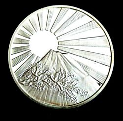 1940 Japanese Silver Proof Medal Signed By Emperor Hirohito Rising Sun Mt Fujii