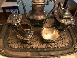 Daffodil By 1847 Rogers, Silverplate 6-pc Tea And Coffee Service W/ Tray, Vintage