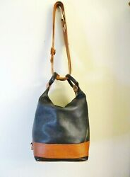 Valentina Convertible Hobo Satchel Backpack Black w Tan Trim Leather Italy $74.99