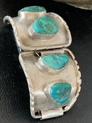 Mens Vintage Navajo Sterling Silver Watch Tips Old Pawn Blue Turquoise Band 1453