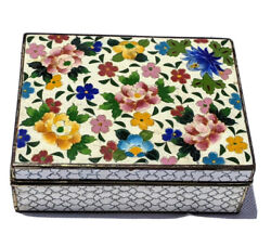 Rare Antique Japanese Inaba Enamel Cloisonne 七宝焼 Jewelry Silvered Copper Box