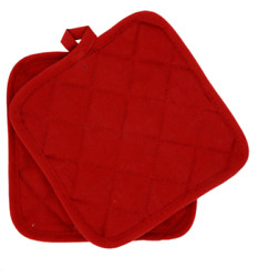 Home Collection 100% Cotton 2 Pot Holders Set Red