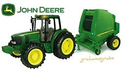 New John Deere Big Farm 7330 Tractor And 854 Round Baler Lights And Sound 46180