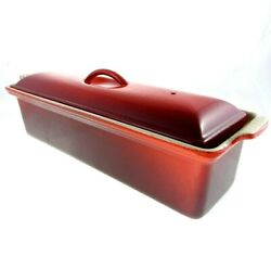 14 Le Creuset Cerise Pate Terrine Meat Loaf Bread Pan 32 Enameled Cast Iron Red