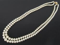 Mikimoto Akoya Pearls K14 Yellow Gold Clasp Double Strand Necklace 19.2 +case