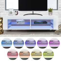 53 High Gloss Led Dimmable Tv Stand Cabinet Modern Furniture Remote Control Us