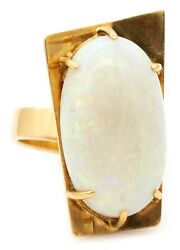 Modernist Geometric Cocktail Ring In 18 Kt Yellow Gold With 10.86 Cts Opal Rare
