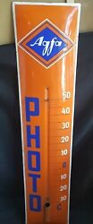 Vintage Agfa Photo Thermometer Sign Enamel Porcelain Advertising Collectible