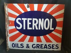 Double Sided Sternol Oil And Greases Enamel Sign.vintage Sign. Petrol .oil.