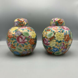 Antique Pair Of Poutiche Ceramics Eastern Designs Floral And Natural
