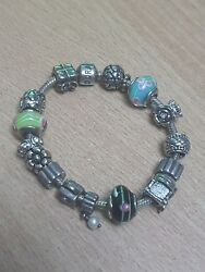 Genuine Sterling Silver 925 Pandora Charm Bracelet With 14 Charms - Weight 60g