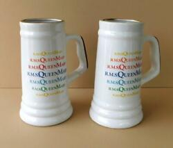 2 Large 42oz R.m.s. Queen Mary Rainbow Ceramic Beer Stein Rms Long Beach Vintage