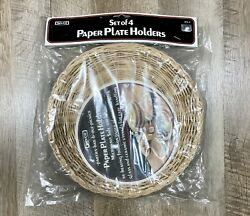 Nevco Vintage Set Of 4 Paper Plate Holders Parties Cookouts Camping Wicker New