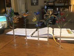 """Lot 5 Art Deco Glass Floral Arrangements With Wire In Vases Lilly Rose Tulip 11"""""""