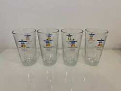 """Vancouver 2010 Olympics Drinking Glasses 4 Like New Condition 6"""" Tall"""