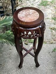 Vintage Chinese Chippendale Tall Plant Stand Marble Top Carved Wood Red Lacquer