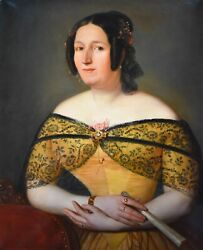 Antique Woman Portrait, 19th Century Painting, Attributed To Peter Michal Bohúň