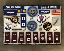 Huge Vintage Framed Civil Air Patrol Cap 31 Piece Pin And Patch Lot Exc Cond