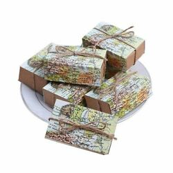 50x50 Pcs Around The World Map Favor Boxes Vintage Kraft Favor Box Candy Gift