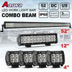 52 Inch 1000w Led Light Bar Spot Flood + 12 + 4 Pods For Jeep Truck Suv Boat