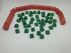 Vintage Monopoly Deluxe Wooden 43 Houses And 18 Hotels Replacement Parts Pieces