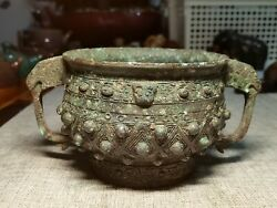 Chinese Bronze Pot Gui Food Container Vessel Dragon Ear Ruding Pattern Pot Gui