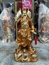 31'' Brass Copper Win Victory In The First Battle Nine Dragon Guan Gong Statue
