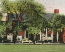 Hand Colored Dearborn Inn Postcard Henry Ford Airport Hotel Automobile Cars