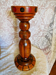 Mid-century Cigarette Cigar Smoking Stand - Solid Wood Inlay- Vintage- Free Ship