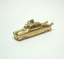 Vintage 1950and039s Cadillac Car Charm Pendant 14ky Ruby Saph And Pearland039s Moving Wheels