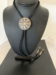 Collectible Vintage Hopi Overlay Sterling Silver Bolo Old Pawn Signed 02005