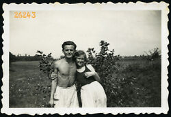 Shirtless Boy W Girlfriend Vintage Photograph 1930and039