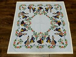 Vintage 1970and039s Inger Tablecloth Swedish Retro Folk Art Cotton 36 New Old Stock